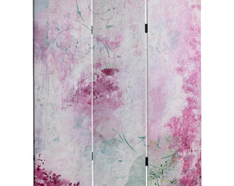 Canvas Room Divider Screen Pink Boudoir Partition