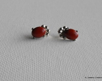 Red Jasper Sterling Silver Earrings  - Gemstone Earrings          (GS-300)