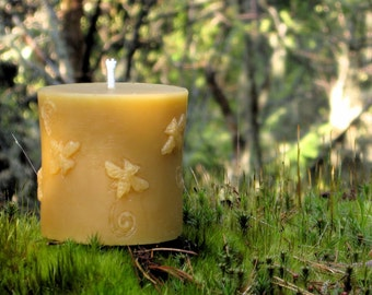 Pure Beeswax Candle. Bee Pillar Shape. 2.75x3 inches. Pure Unbleached Cotton Wicking.  Hand Poured.  Unscented. 100% pure beeswax.