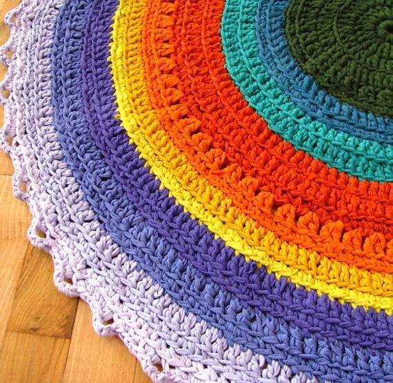 Rainbow Round Carpet Cotton Crochet Rug Rag Carpet Orange Blue