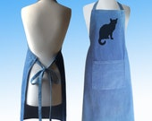 Little Cat Silhouette Hand Screen Printed Pure Cotton Denim Apron.
