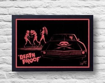 Muerte prueba Movie Poster impresión, película de culto, Ilustración, arte, pintura, regalo