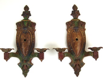 Pair of Polychrome Neo Classical Wall Sconces