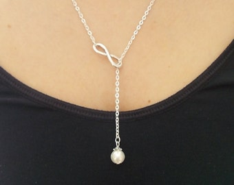 silver lariat necklace ivory pearl necklace handmade necklace fashion jewellery infinity necklace silver necklace faux pearl necklace gift