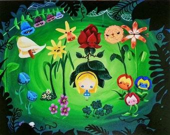 Alice in Wonderland Flower Garden High Quality Digital Print 14x11