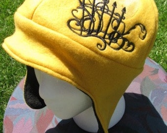 Damask Raven Against the Moon Gold and Black Fleece Ear Flap Hat