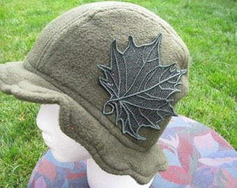 Scalloped Edge Fleece Bucket Hat with Beautiful Green Lace Fall Leaf