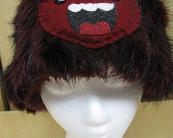 Burgundy Faux Fur with Yeti Face Hat with Fleece Lining