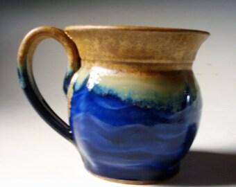 Blue Glazed Stoneware Pottery 16 ounce Mug