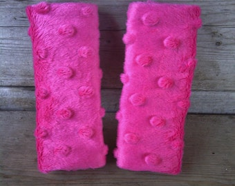 Hot Pink Minky Car Seat Strap Covers for Infant/Baby/Toddler - Reversible