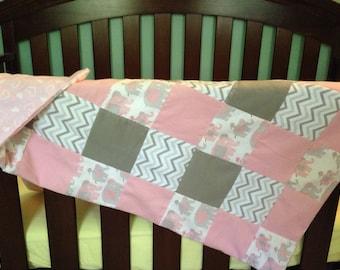 Baby Girl Pink Elephant Bassinet Quilt