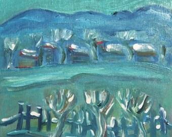 Vintage Fauvist Oil Painting Landscape Composition
