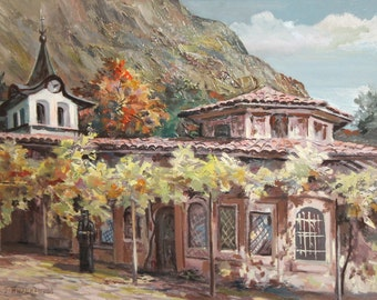 Landscape oil painting monastery signed