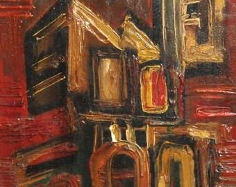 1991 Avant Garde oil painting landscape Signed