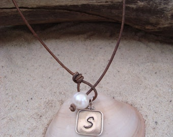 LEATHER/ PEARL NECKLACE (Susan) with a Hand stamped Sterling Silver Pendant
