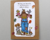 Autumn card with scarecrow and blessings sentiment