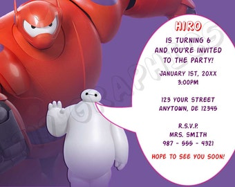 Big Hero 6 Birthday Invitation (Baymax) - Printable
