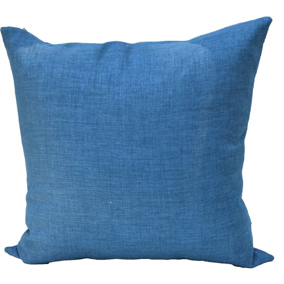 Outdoor 22x22 Chambray Blue Pillow Cover by PillowSnob on Etsy