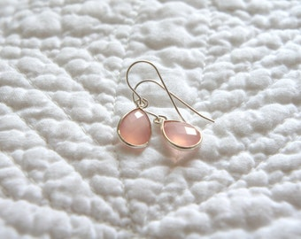 Pink Chalcedony Earrings / Pink Gemstone Earrings / Gift