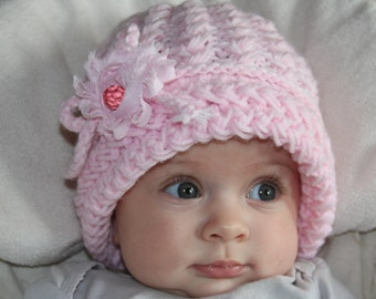 Pink baby girls knit hat. Knitted baby girl hat. Girls knitted hat. Flower hat. Crochet baby girls hat. For age 1-2 years old