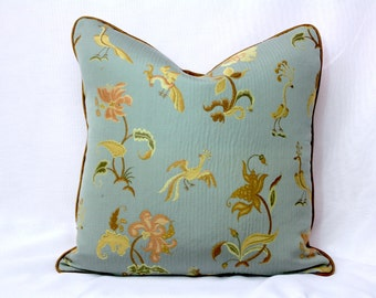 Gray Blue Pillow Cover (Cotton, Rayon, Silk) w/ Stylized Bird Print,  Down Pillow Insert Included