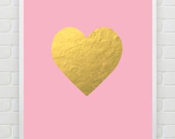 Printable Art Gold Foil Heart Print Instant Download Nursery Print Blush Gold Print Faux Gold Foil Wall Art Home Decor Dorm Decor Love Print