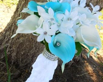 Sky blue bouquet, destination wedding bouquet set