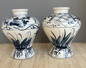 Vintage blue and white vase | pair of vases | indigo blue | delft vase | set of vases | delft blue | navy blue decor