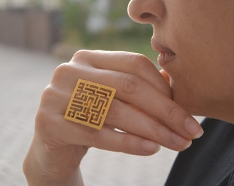 """Handmade square Arabic Kufi Calligraphy """"Bismillah"""", In The Name of God, women gift, hammered ring. Gift for her"""