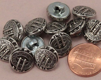 """Lot of 12 Silver Tone Metal Black Accent Shank Buttons Puffed 1/2"""" 13mm (#6317)"""
