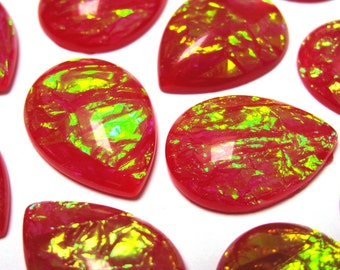 4 pcs Cabochon resin faux opal red pear 24x18 mm