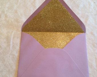 Gold Glitter Lined Envelopes - 5 x 7 Glitter Lined Envelope - Invitation Envelopes - Wedding Envelopes - Wedding Envelopes Glitter - 5 x 7