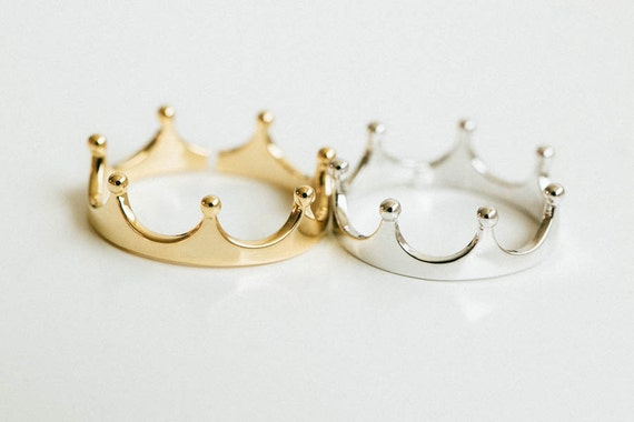 simple crown ringadjustable ringstretch ringsstack by comejew