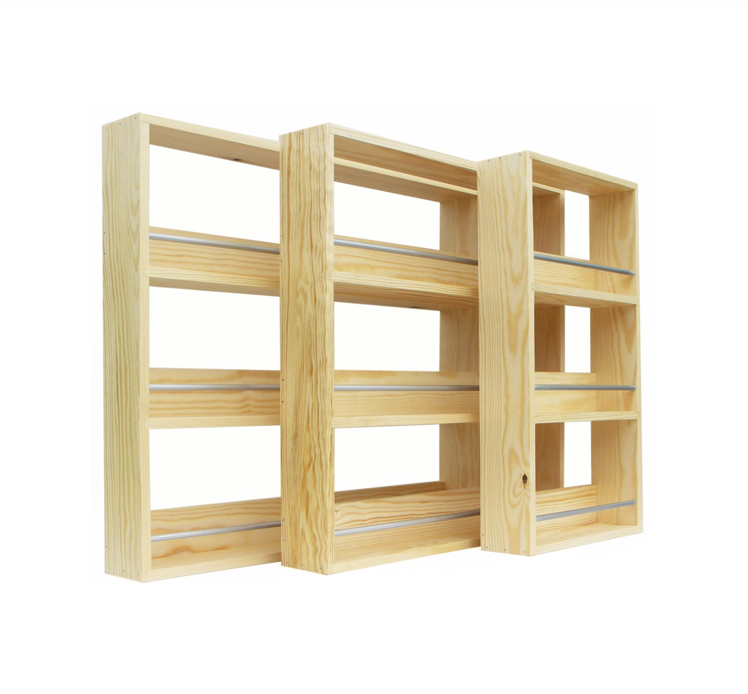 Solid Pine Spice Rack Contemporary Minimalist Style 3 Shelves