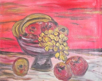 European art vintage oil painting still life with fruits