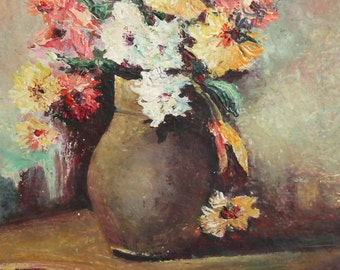 European art oil painting still life with flowers