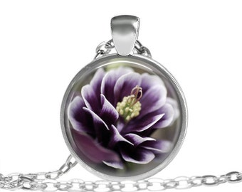 Purple flower necklace, Mothers day necklace, Purple picture pendant, Purple flower jewelry, Purple accessory necklace Purple flower pendant