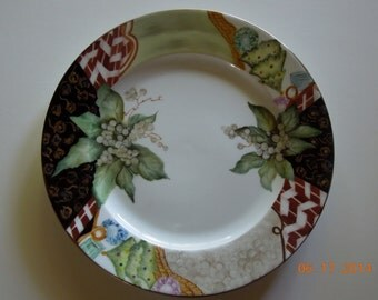 Christmas plate with decorative border which includes Gem stones, pearls, candy canes and Poinsettia-hand painted Porcelain