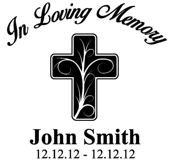 Items similar to In Loving Memory Cross Decal - Custom ...