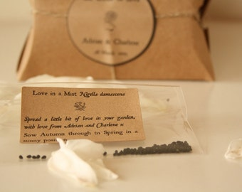 The Seeds of Love 20 Rustic Wedding Favors with Love In a Mist flower seeds
