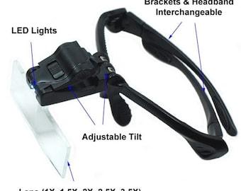 Headband Magnifier Glass Lighted Optivisor w/ 5 Lens for Hobby Repair Reading