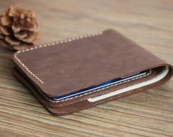 Minimalist Bifold Men's Leather Wallet Billfold Leather Wallets Best Birthday Presents Groomsmen Gift Leather Card Holder Wallet-R028-4