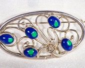 Art Nouveau silver Brooch; Victorian or Edwardian Sterling and azurite dress clip pin