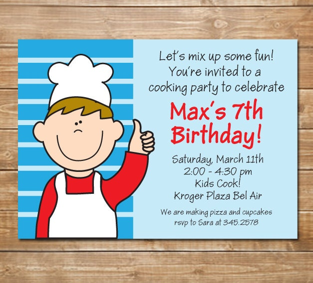 Chefs Party Kids Kids Cooking Invitation Baking Party – Kids Cooking Party Invitations