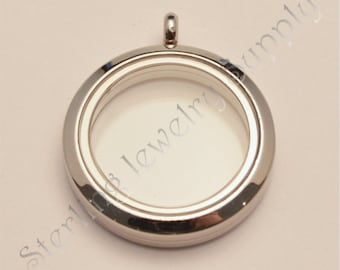 30mm Magnetic Stainless Steel Floating Locket (L-30S-PL-MG), USA Seller, Fast Shipping