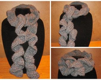 Crochet Ruffle Scarf - Grey