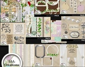 Downloadable Files - Nothing will be shipped - LLL Scrap Creations - Summer Wedding Bundle - Digital Scrapbook Kit