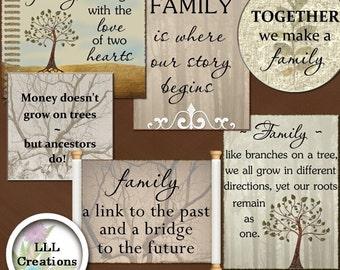 LLL Scrap Creations - My Family Tree Word Art - Digital Scrapbooking Kit
