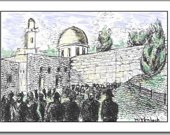 Western Wall.  Blank Note Card. Mixed media.  Customized message.