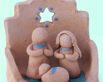 Southwest Nativity Creche Ornament, Terra Cotta, Handmade by Karlene Voepel